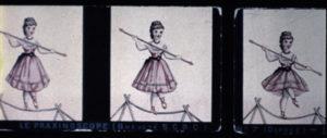 Fig. 1. Vues pour praxinoscope : La Danse sur corde (1877, Emile Reynaud) Collection CNC - direction du patrimoine / CITIA